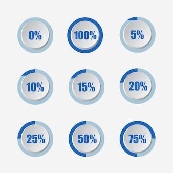 Set di diagrammi di percentuale del cerchio 3d segno moderno illustrazione vettoriale