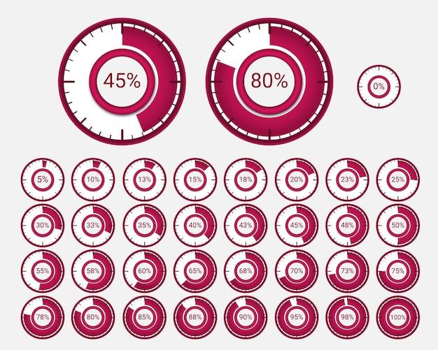 Set di diagrammi di percentuale del cerchio.