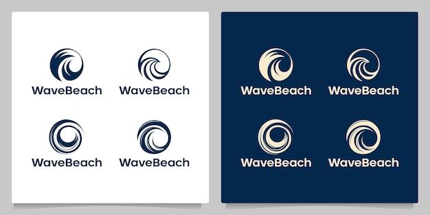 Set di design del logo dell'oceano dell'onda del cerchio isolato con colore oro