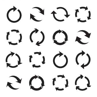 Set di frecce circolari nere.