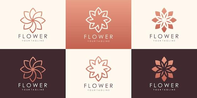 Set di logotipo di loto fiore circolare. logo floreale foglia universale lineare