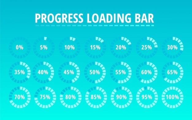 Insieme della barra di caricamento di progresso circolare sull'azzurro