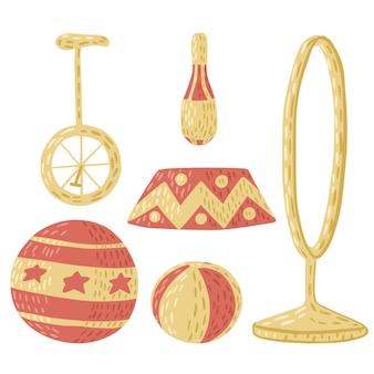 Metta gli oggetti di scena del circo isolati. strumenti di allenamento anello, podio, palline, monociclo, mazze da giocoliere. illustrazione di design.