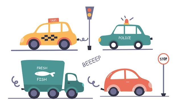 Una serie di illustrazioni di city car in stile bambini su sfondo bianco