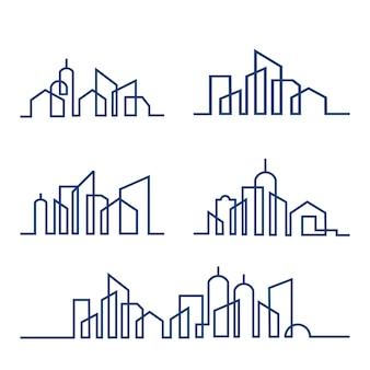 Insieme dell'illustrazione di vettore di skyline della città linea arte