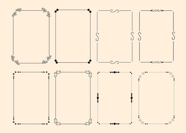 Set di cornice decorativa ornamentale calligrafica classica