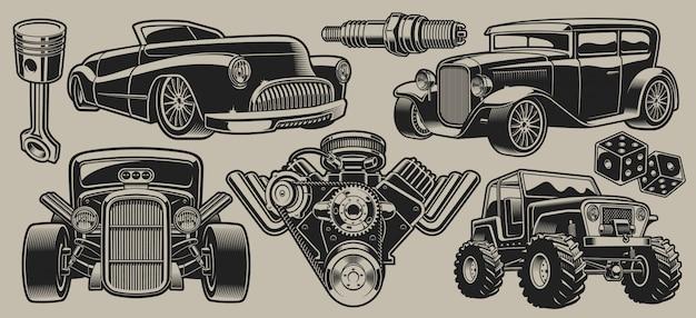 Set di auto d'epoca e illustrazioni di parti in stile vintage isolato su sfondo chiaro.