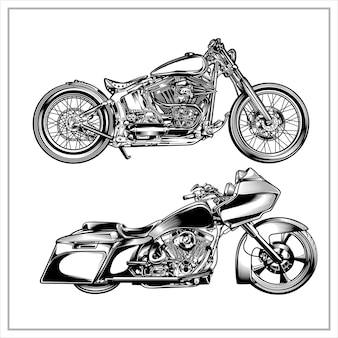 Set grafico illustrazione moto d'epoca vol 3