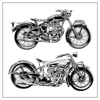 Set grafica illustrazione moto d'epoca vol1