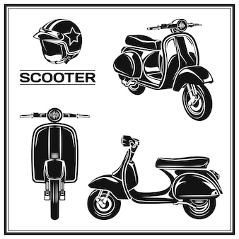 Set di icone e distintivi di emblemi di scooter classici illustrazioni e grafica di scooter da strada urbani