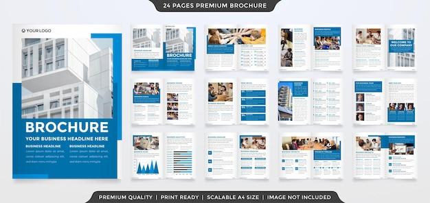 Set di design modello di brochure aziendale pulito con stile moderno e moderno