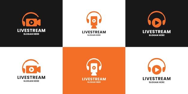 Set di design del logo in live streaming pulito. l'icona del telefono aereo e del video della fotocamera si combinano