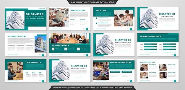 Set di stile premium modello di layout di presentazione pulita