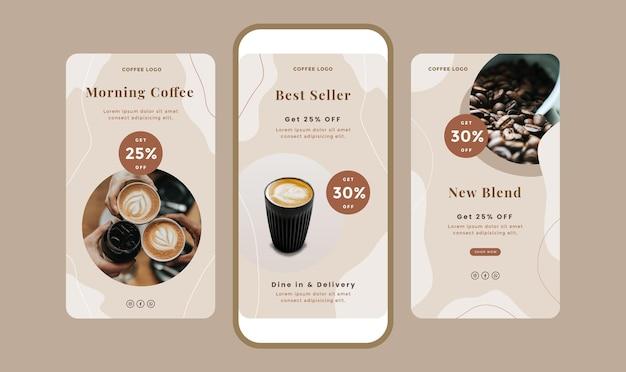 Set di banner di storie pulite con tema caffè per i social media.