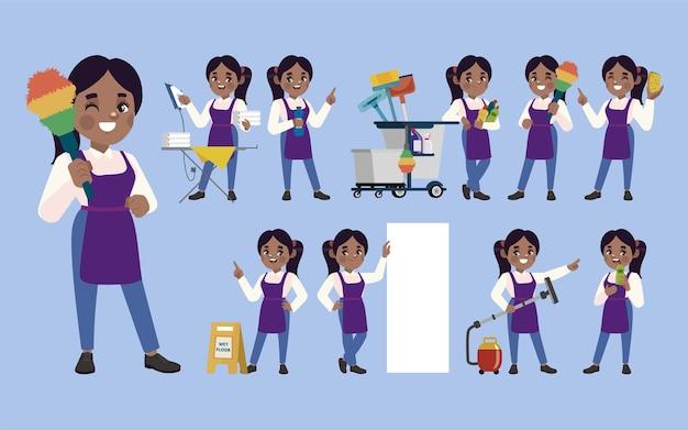 Set di detergenti con diverse pose