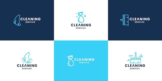Set di impresa di pulizie. collezione di design del logo del servizio di pulizia moderno