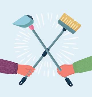 Insieme di elementi di servizio di pulizia. prodotti per la pulizia. strumenti per lavori domestici. spazzatura, paletta e spazzola. modello per siti web, materiali stampati, infografiche