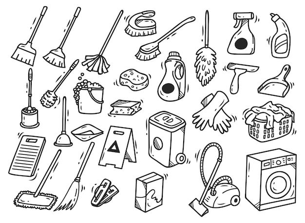 Set di doodles di forniture per la pulizia isolato su sfondo bianco
