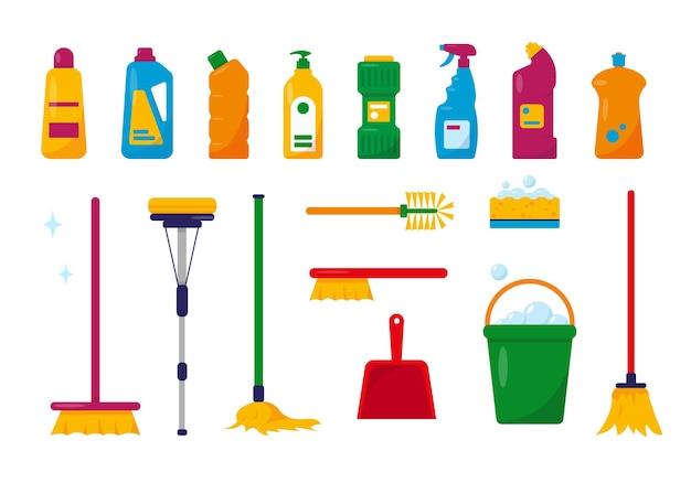 Set di strumenti per la pulizia e prodotti isolati su priorità bassa bianca.