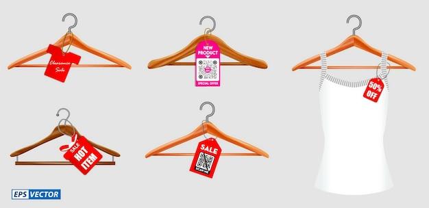 Set di grucce per vestiti o grucce per vestiti isolate su sfondo bianco