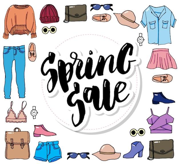 Impostare vestiti linea sottile moda illustrazione vendita