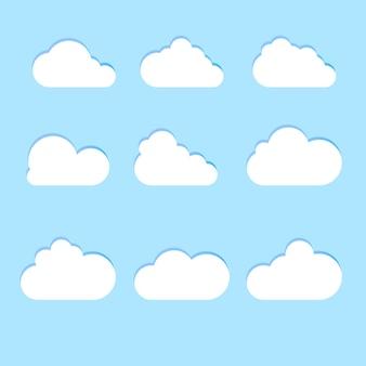 Set di icone cloud in stile piatto alla moda isolato su priorità bassa blu. simbolo cloud per il design del tuo sito web, logo, app, interfaccia utente. illustrazione vettoriale.