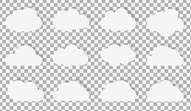 Set di icone a fumetto nuvola o simbolo di nuvole bianche bianche