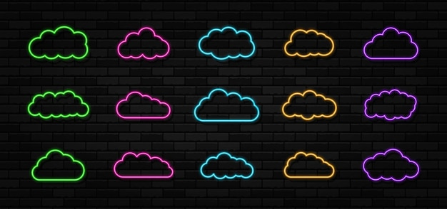 Insieme delle insegne al neon delle nuvole sullo sfondo del muro di mattoni neri cornice di luce elettrica astratta