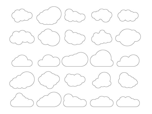 Insieme delle nuvole. nuvole di contorno isolate su sfondo bianco. illustrazione vettoriale.