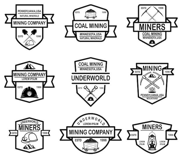 Set di modelli di emblema della società mineraria del carbone.