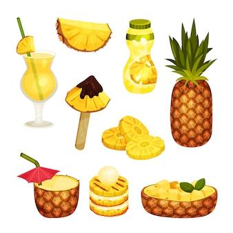 Set di ananas cocktail isolato su bianco