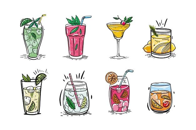 Set di cocktail. stile di schizzo disegnato a mano. isolato su sfondo bianco. cocktail popolari per menu di design, poster, opuscoli per caffetteria, bar.