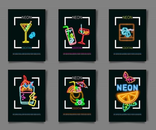 Impostare coctail e bere segno al neon