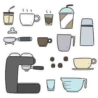 Set di cartoni animati da caffè