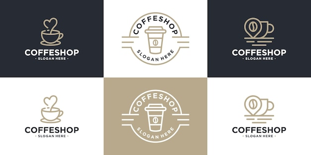 Set di design del logo della tazza di caffè