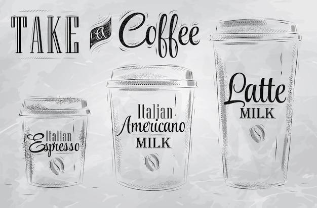 Impostare il caffè bere tazza di carbone