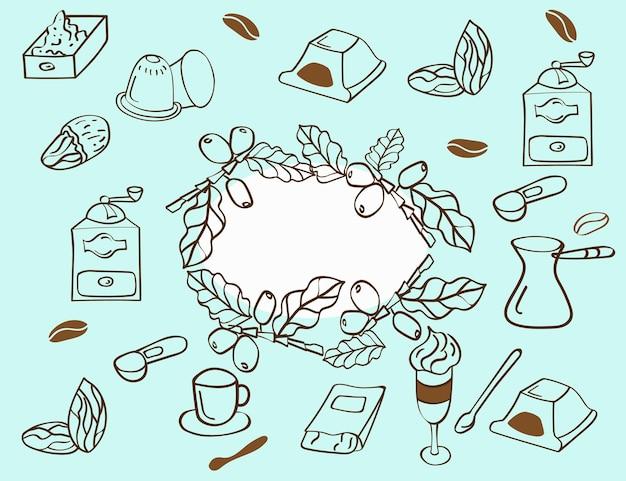 Set di elementi e accessori per il caffè. stile disegnato a mano. vettore