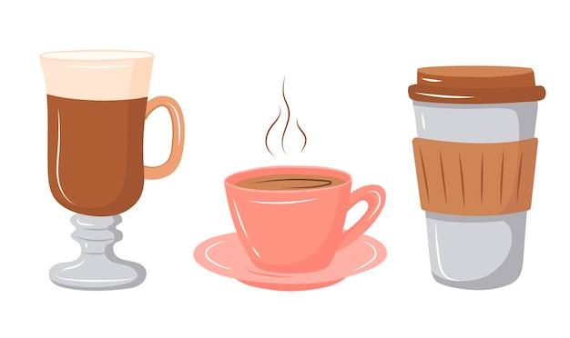 Set di caffè in un bicchiere, tazza e latte. illustrazione vettoriale in stile cartone animato