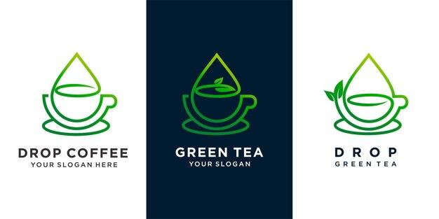 Set di caffè o tè verde o tè con goccia d'acqua e design del logo del concetto di combinazione di foglie di tè. vettore premium