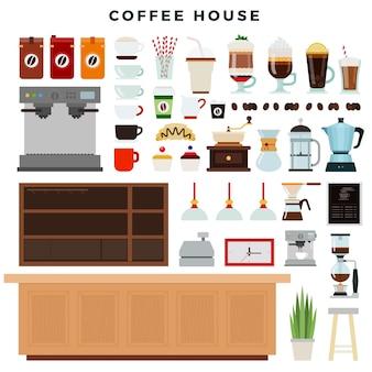 Insieme dei prodotti della casa del caffè isolati su bianco