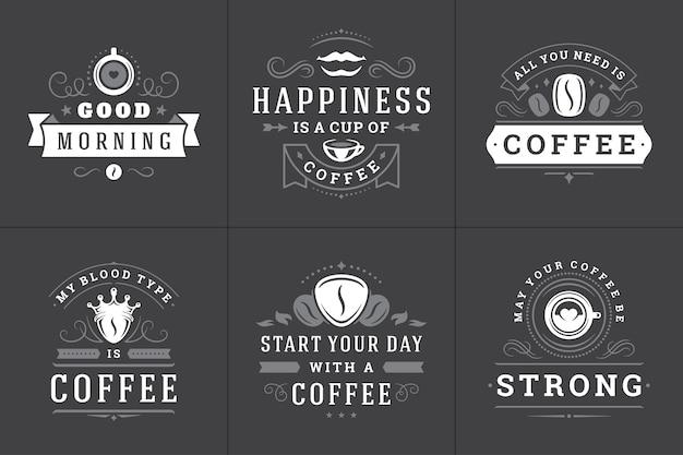 Set di loghi di frasi ispiratrici di caffè
