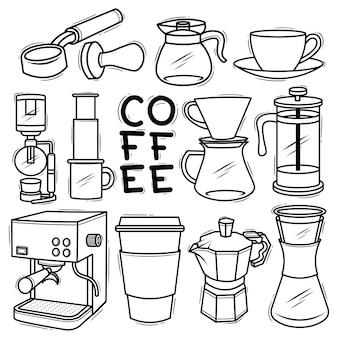 Set di strumenti per macchine da caffè doodle disegnato elemento