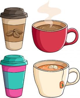 Insieme della tazza di carta del caffè con la tazza di tè usando lo stile colorato di scarabocchio