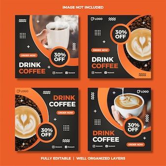 Set di modello di post social media caffè.
