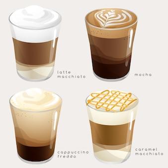 Set di tipi di caffè: illustrazione