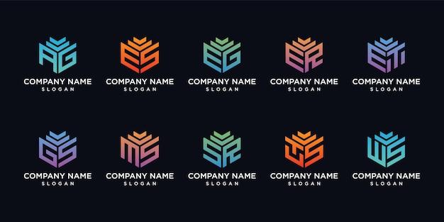 Set di design del logo della lettera di raccolta