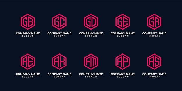 Set di esagono logo lettera di raccolta