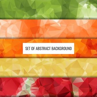 Impostare la raccolta di design di sfondo poligono di colore astratto