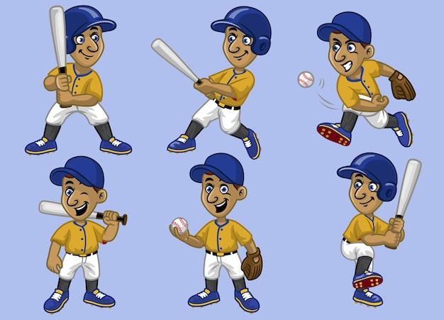 Imposta il giocatore di baseball del ragazzo dei cartoni animati della collezione