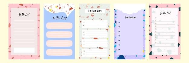 Imposta la raccolta di un modello di elenco vuoto colorato per la storia dei social media con motivo a terrazzo